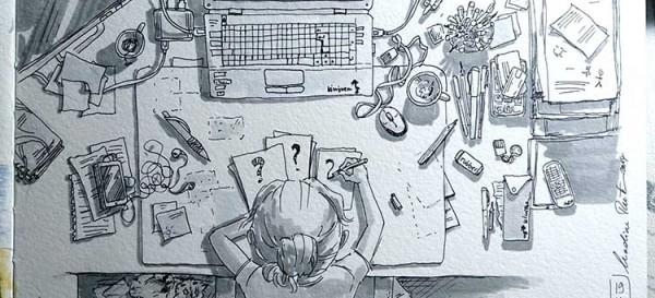 Wenn man keine Idee hat, zeichnet man einfach was man sieht - hier meinen Schreibtisch?