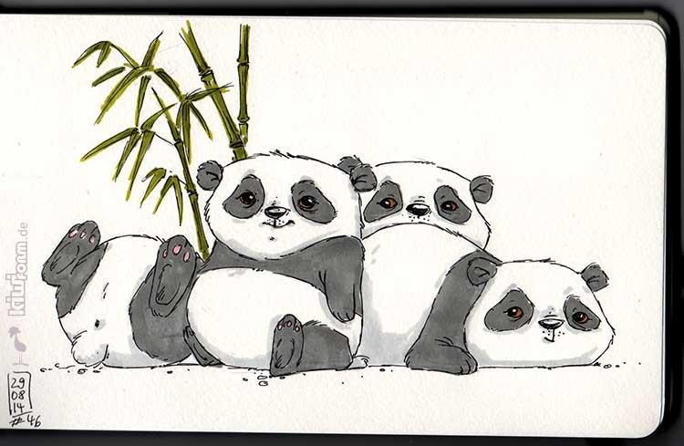 Zeit zum Entspannen mit den Panda-Freunden. Daily Illu Tag 46