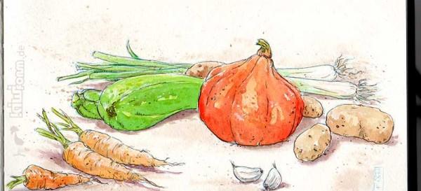 Lecker Gemüseauflauf - die Hauptzutaten.