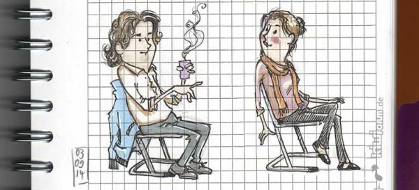 Auf einer Klassenpflegschaftssitzung hat man zeitweise etwas ungenutzte Zeit, so müssen die Klassenlehrer für eine kleine Skizze herhalten.