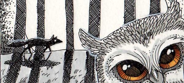 Wenn sich Fuchs und Eule Gute Nacht sagen - Daily Illustration Tag 56 - Ausschnitt