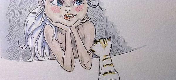 Daily-Illu_Tag57_Mädchen-und-Katze_Nadine-Reitz
