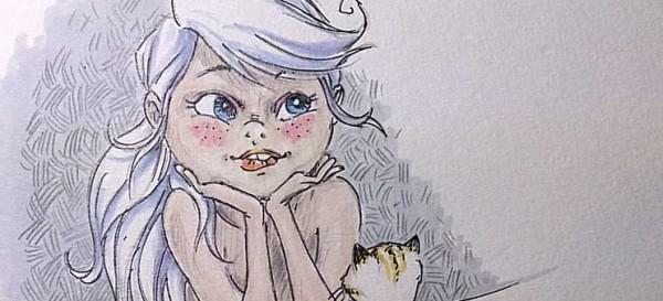 Mädchen gedankenversunken mit Katze - Daily Illu Tag 57 - Ausschnitt