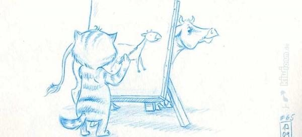 Das Kuh-Zeichnen geht weiter - Katze bei der Arbeit - Daily Illu Tag 65