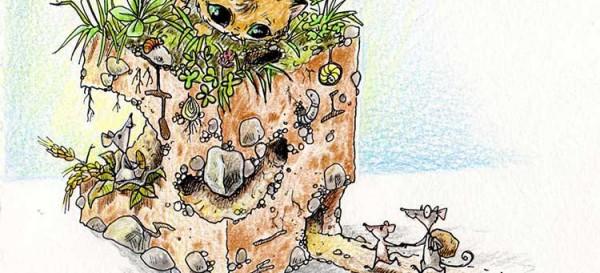 Katze lauert Maus auf - Querschnitt durch Mäusehöhle - Daily Illu Tag 67 - Aussdchnitt - Nadine Reitz