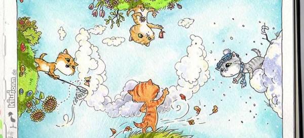 Wet, Wetter, Donnerwetter? Die 4 Jahreszeiten - Daily Illu Tag 69 - Nadine Reitz