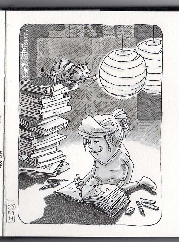 Heute habe ich die letzte Seite meines aktuellen Skizzenbuches angefangen. Nun ist es bald voll. Daily Illu Tag 70 - Nadine Reitz
