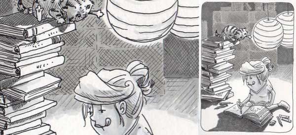 Heute habe ich die letzte Seite meines aktuellen Skizzenbuches angefangen. Nun ist es bald voll. Daily Illu Tag 70 - Ausschnitt - Nadine Reitz