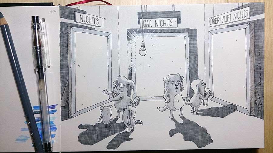 ... der Hit In der Kunstausstellung: Nichts, Gar Nichts, Überhaupt Nichts - Daily Illu Tag 71 - Nadine Reitz