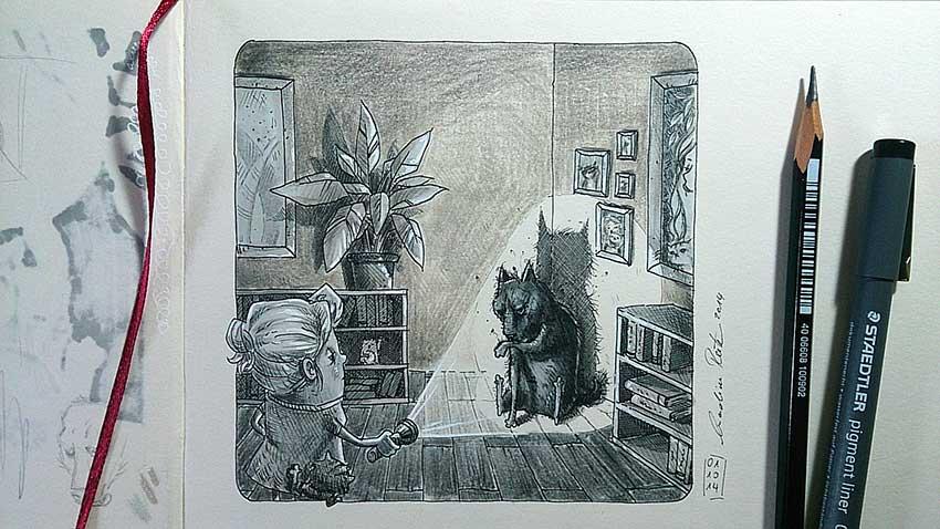 Machmal hockt der schwarze Hund ungebeten und räudig lauernd in der Ecke - Daily Illu #79 - Nadine Reitz