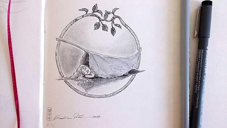 Der Herbst ist da. Mädchen schläft nachts unterm Blatt. - Daily Illu Tag 86 - Nadine Reitz