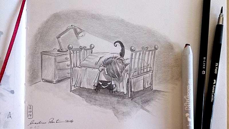 Monster unter'm Bett - Daily Illu Tag 90 - Nadine Reitz