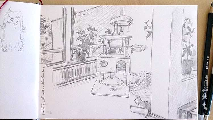 Skizze vom Katzenspiel- und Katzenturm - Daily Illu Tag 91 - Nadine Reitz
