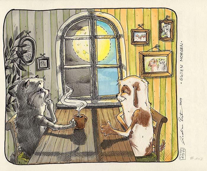 Guten Morgen gute Nacht mit Hund und Katze. - Daily Illu Tag 103 - Nadine Reitz