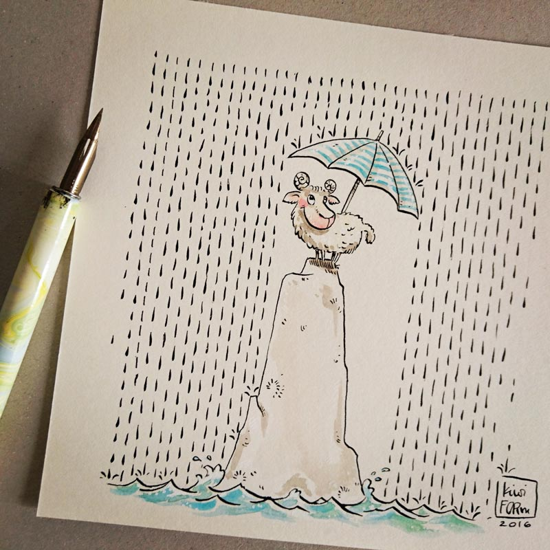 Illustration - Enjoy the rainy days. - kiwiFORm | Nadine-Reitz
