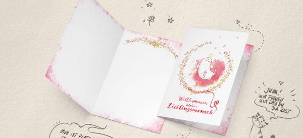 Grusskarte zur Geburt eines Mädchen - Nadine Reitz | kiwiFORm