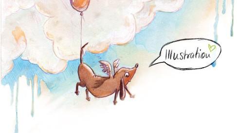 fliegender Dackel Illustration kiwiform