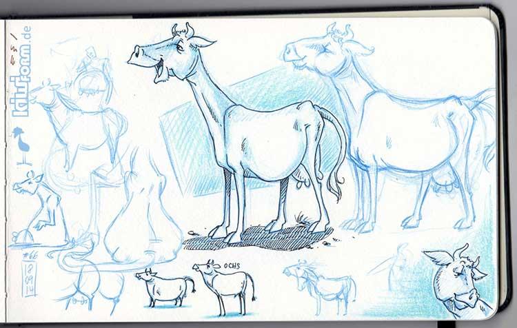 Daily Illu #66 – Kuh-Skizzen die II.