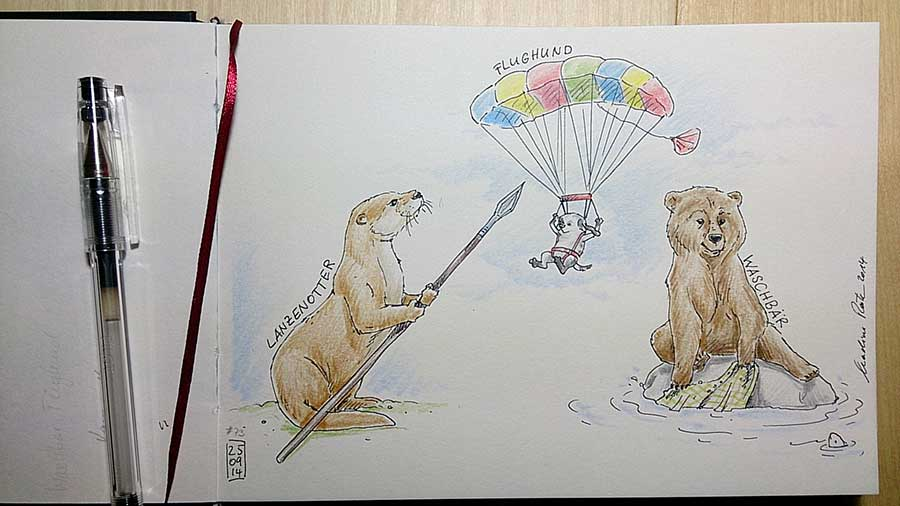 Daily Illu #73 – Lanzen-Otter, Wasch-Bär, Flug-Hund