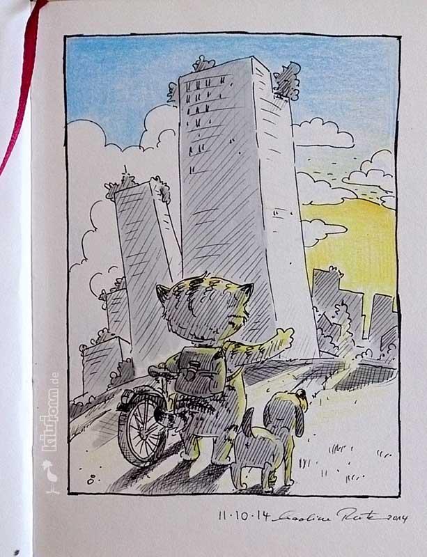 Daily Illu #89 – Fahrradtou mit Hund und Katze