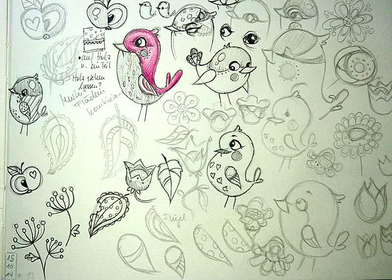 Daily Illu #93 – Vogel Muster Skizzen